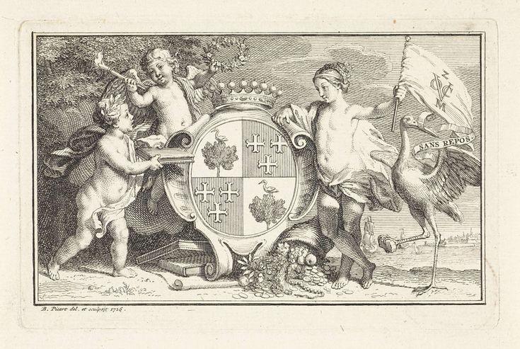 Bernard Picart   Wapenschild met daarnaast een vrouw met de vlag van de Zeeuwse kamer van de VOC, Bernard Picart, 1726   Gekroond wapenschild met daarnaast een vrouw met de vlag van de Zeeuwse kamer van de VOC in Middelburg. Links putti en rechts een hoorn des overvloeds en een ooievaar met een devies: Sans repos.