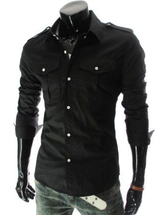 TheLees Mens slim fit strap big pocket shirts