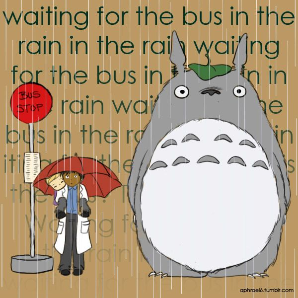 """""""Waiting for the bus in the rain""""... oh my gosh, I never even thought of this. So cute! Welcome to Nightvale."""