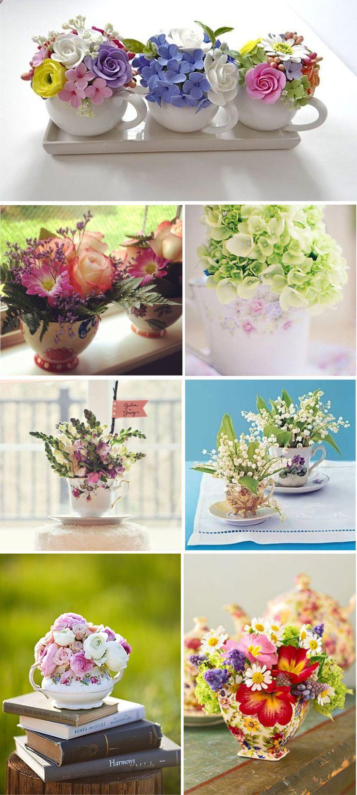 Decoração Romântica: Xícaras e Flores | http://nathaliakalil.com.br/decoracao-romantica-xicaras-e-flores/
