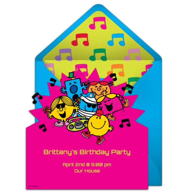 Customizable, free Mr. Men & Little Miss | Group online invitations. Easy to personalize and send for a Mr. Men birthday party. #punchbowl