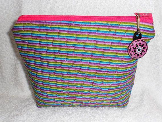 Quilted Zipper Pouch/Small Zipper Pouch/Clutch/Cotton Fabric