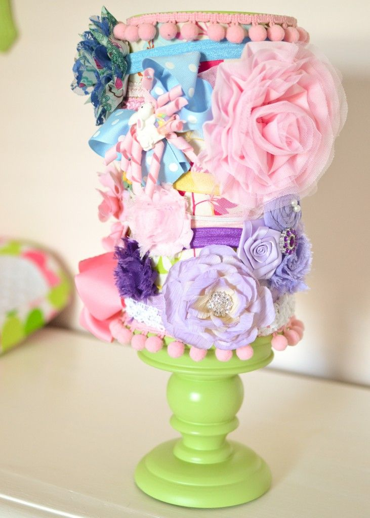 headband holder - oatmeal container + painted candlestick holder