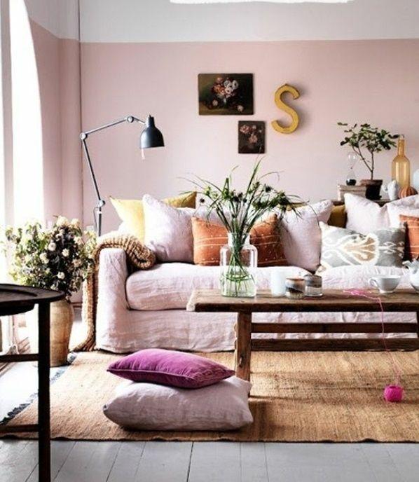 wohnideen für wohnzimmer rosa farben wandgestaltung