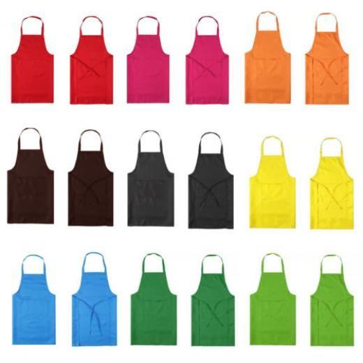 Kitchen Cooking Bib Apron With Pockets Thicken Cotton Polyester Blend Anti-wear
