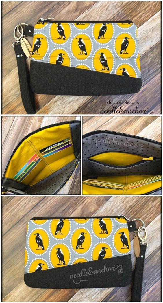 Free clutch bag sewing pattern. I love the extra little features on this bag like the built in card pockets. Very nice pattern.