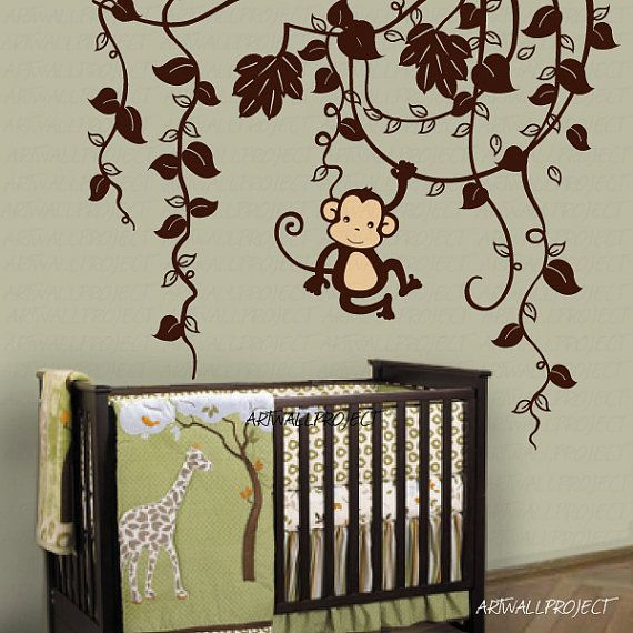 Removable Vinyl Wall Decal   Monkey In Jungle B Type With One Monkey    Swinging Monkey Part 96
