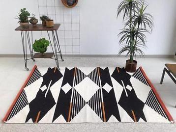 Kelim handgeweven wollen kleed geometrisch vloerkleed tapijt