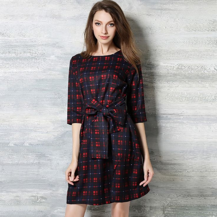 Red Plaid Dresses new spring large size loose Thin Red Plaid Dress 3 qualters sleeve womens summer dresses 2017 #Affiliate