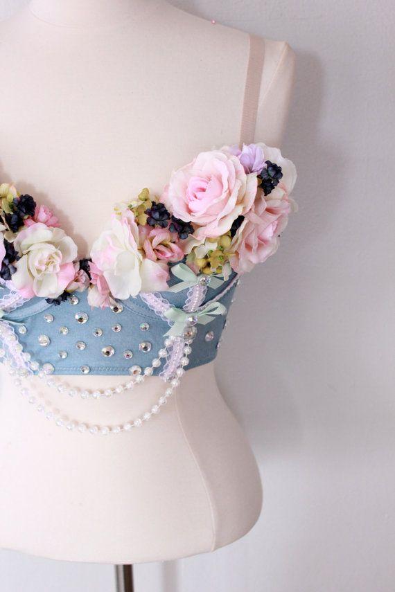 $110.00 A walk in the garden long line bra corset rave costume 34B via Etsy