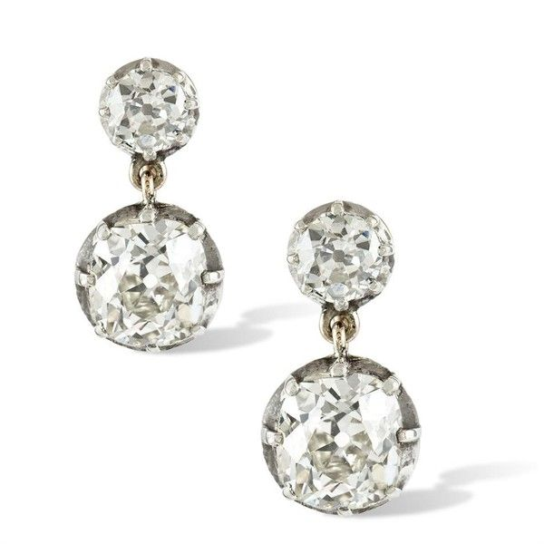 A Pair Of Late Victorian Diamond Drop Earrings 15 585 Liked On Polyvore