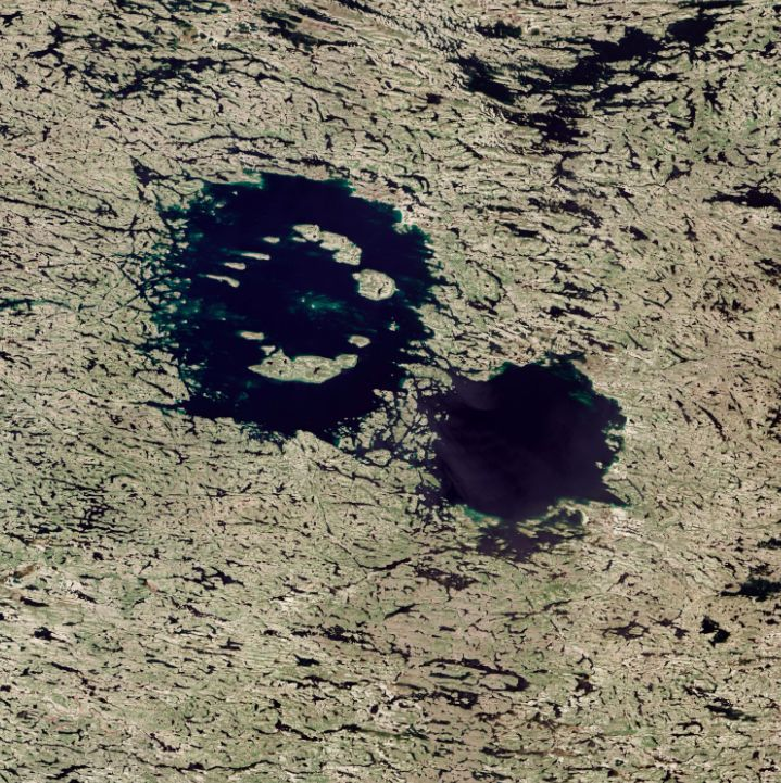 Clearwater Lakes double impact crater in Quebec, Canada, seen from space.