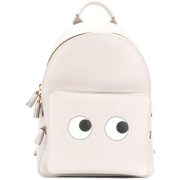 Anya Hindmarch Mini Eyes Backpack ($1,150) ❤ liked on Polyvore featuring bags, backpacks, grey, strap backpack, gray backpack, mini bag, rucksack bags and knapsack bag