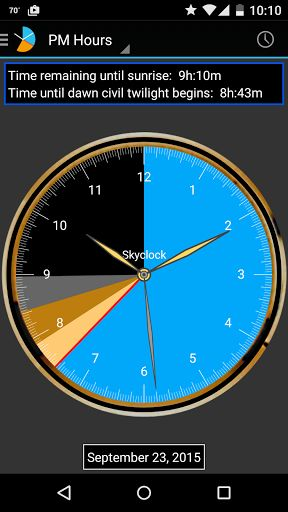 Skyclock v1.3-phone build 227 Skyclock v1.3-phone build 227 Requirements:4.0.3 and up Overview:Skyclock is the ultimate Suncalculatorfor sunrise sunset and twilight times. Calculates for exactly where you are. Skyclock is the ultimate Suncalculatorfor sunrise sunset and twilight times. Calculates for exactly where you are. Pilots photographers golfers hunters construction managers those who fish camp hike and organize outdoor recreation and those who organize their lives around sunrise and…