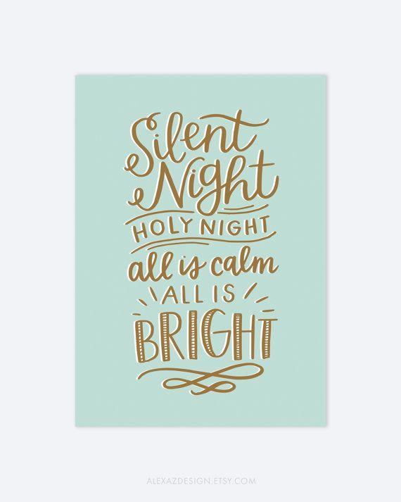 Stille+nacht+Kerstmis+Print+goud+van+alexazdesign+op+Etsy