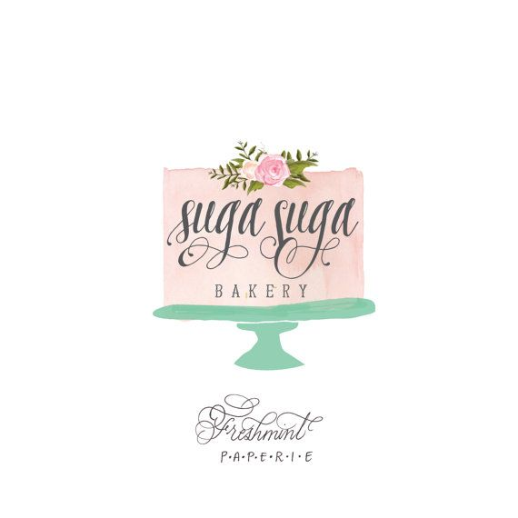 customized logo  cursive logo   logo design   by FreshmintPaperie