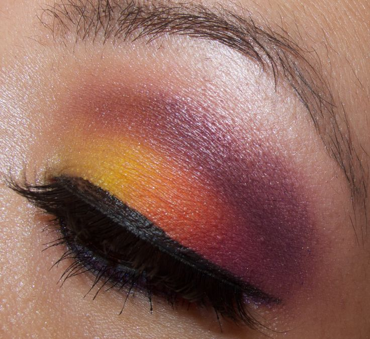 hawaiian sunset makeup tutorial purple red orange yellow shades
