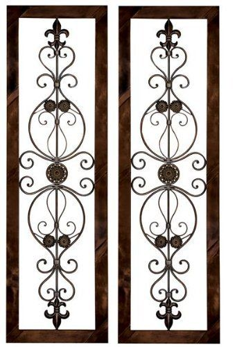 Tuscan Metal Wall Grille Wall Plaque Set with Fleur-De-lis by Cheap-Chic Decor, http://www.amazon.com/dp/B004535ER2/ref=cm_sw_r_pi_dp_KHNsrb0NBT3E6