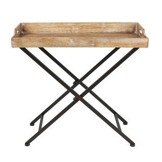 Kate and Laurel Marmora Black Metal and Rustic Wood Folding Tray Table | Overstock.com Shopping - The Best Deals on Coffee, Sofa & End Tables