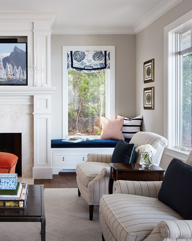 This gorgeous neutral paint color is Sherwin Williams Accessible Beige.  Ceiling Paint Color: 50% Benjamin Moore Linen White and 50% Ceiling White from Benjamin Moore.