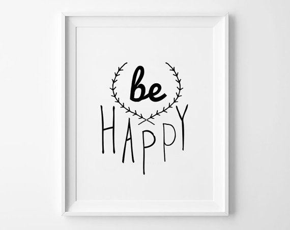 Be Happy Nursery Decor Wall Art Kids Room Decor Poster Black And White Scandinavian Poster Nursery Prints Home Decor