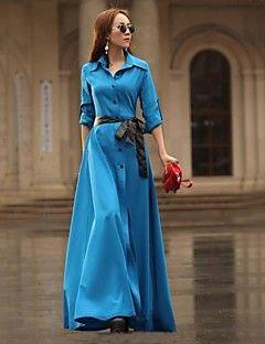 női szilárd maxi ruha övvel, hosszú ujjú
