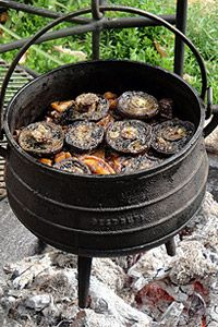 Lamb and Vegetable Potjie topped with Mushrooms