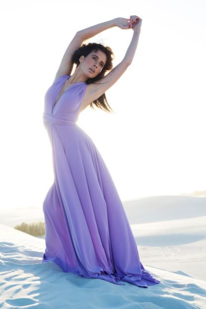 Dreamy lavender Infinity bridesmaids dress with customisable straps and full length skirt. Order yours at www.infinitybridalwear.co.za #weddings #purpledress #purpleinfinitydress