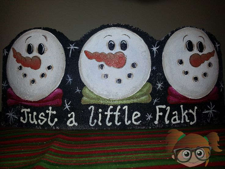 Just a Little Flaky Snowman hand painted brick edger paver from www.facebook.com/justartjust4me