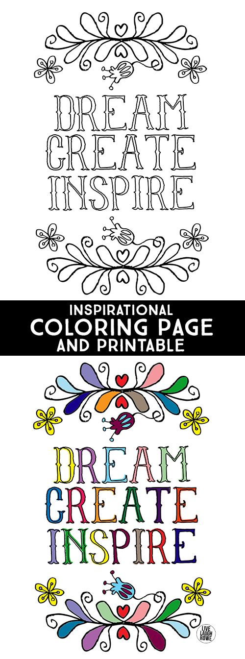 dream create inspire inspirational coloring page