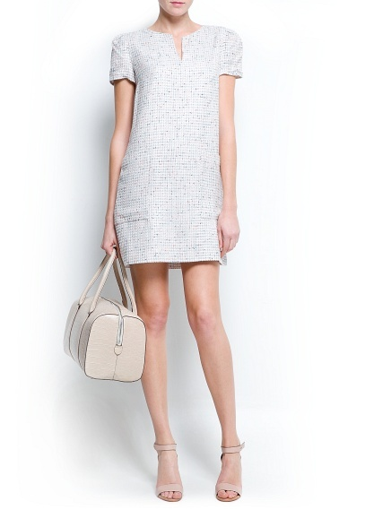 Straight-cut bouclé dress