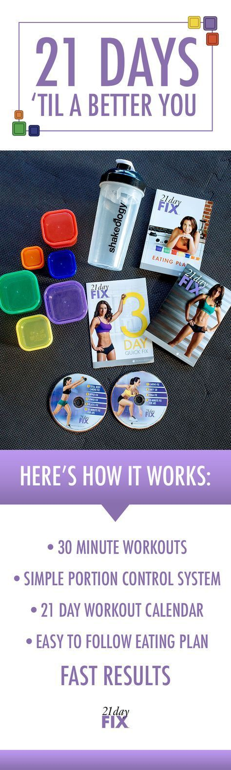 Want to look and feel your best in 21 days? With 21 Day Fix®️️, our healthy eating tips, plus short 30-minute workouts are everything you need to get on track!