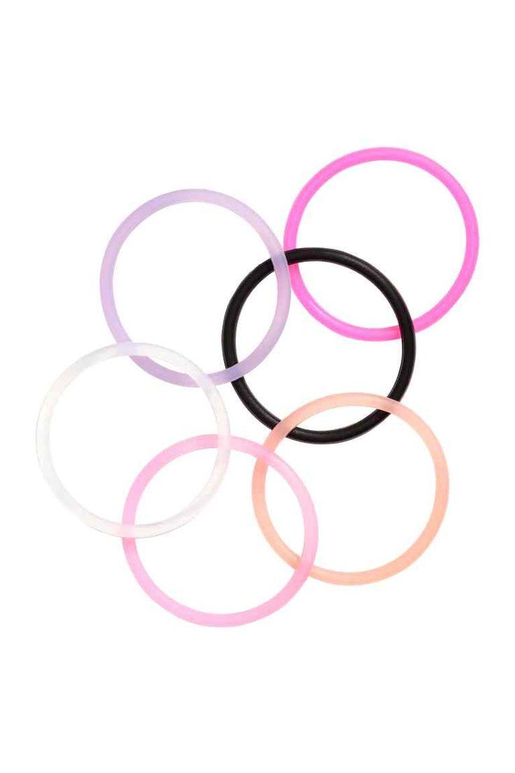 6 haarelastieken van silicone - Roze/meerkleurig - DAMES | H&M NL 1
