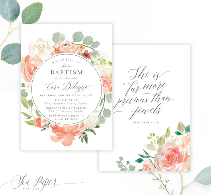 The Cora Girl's Baptism Invitation features gorgeous blush, peach & white modern garden watercolor florals & calligraphy lettering. Choose a scripture (Proverbs 31), Baby's Monogram, your own text or a full-sized photo for the back!