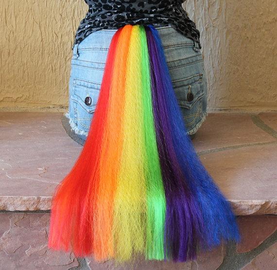 HALLOWEEN- Rainbow Dash tail - clip on costume cosplay - my little pony - friendship is magic