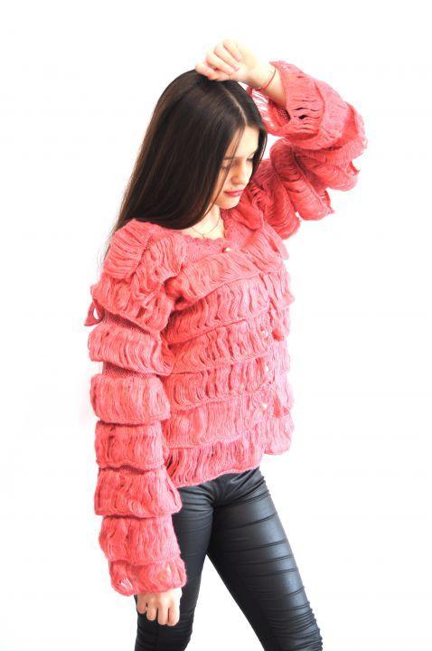 "125 LEI | Jacheta roz/piersica  cu franjuri "" LORA"" | Cumpara online cu livrare nationala, din TURDA. Mai multe GyaDesign - accesoriile fac diferenta pe GyaDesign."