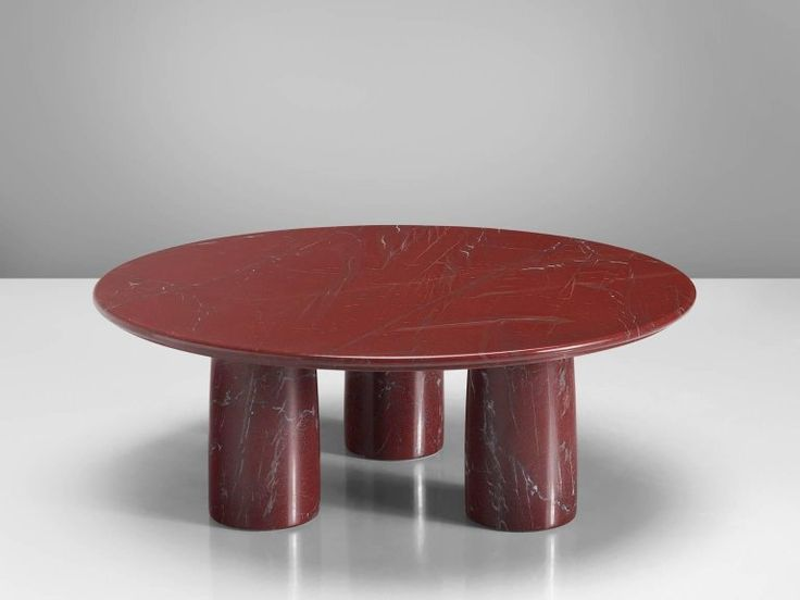 Mario Bellini for Cassina Red Limestone Side Table 3