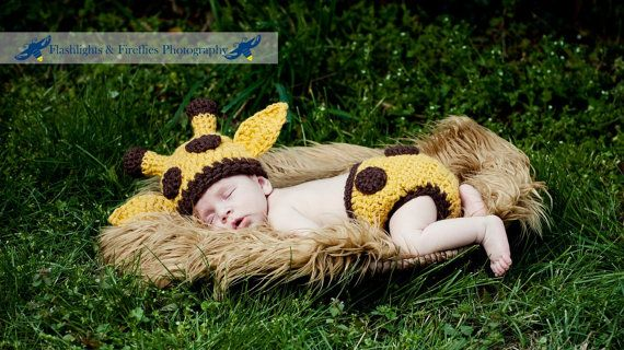 Baby Giraffe Hat and Diaper Cover Matching Set--Perfect Crochet Newborn Photo Prop  or Halloween Costume on Etsy, $58.00