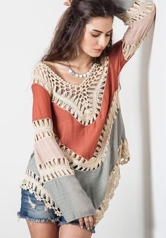 Multicolor Color Block Patchwork Lace Hollow-out Long Sleeve Bohemian T-Shirt