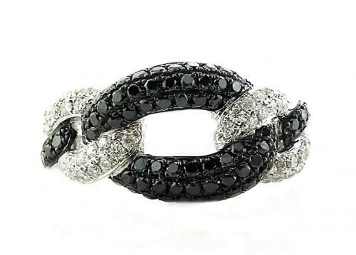 An 18ct White Gold, Black and White Diamond Dress Ring