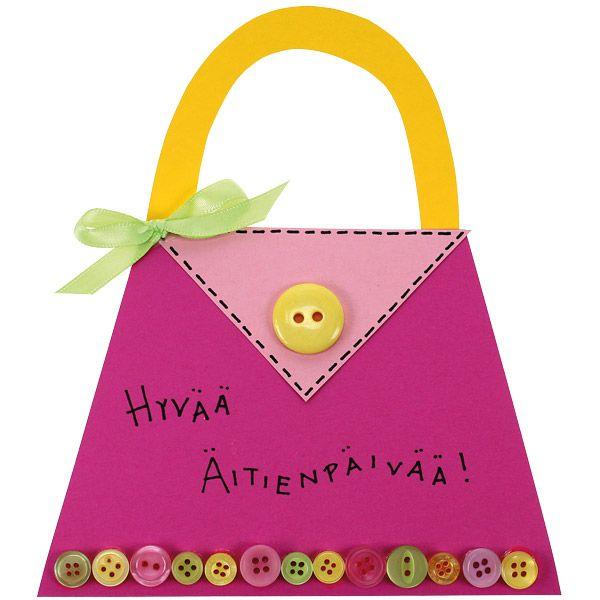 Tee äidille hauska käsilaukkukortti! Tarvikkeet ja ideat Sinellistä!