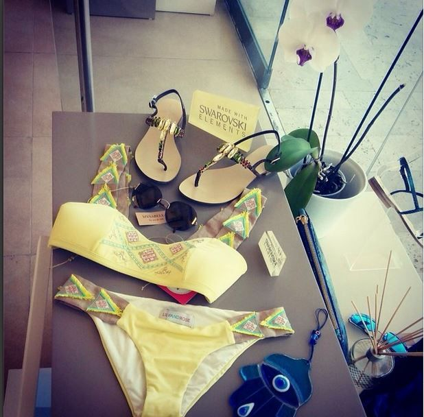 collection in Mysabella Palmarina Store. #mysabella #sandals #lilyandrose #yellow #swarovski #beachwear #summer #love