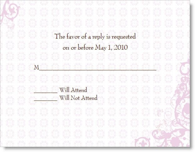 Vintage Pink Wedding Reply Cards
