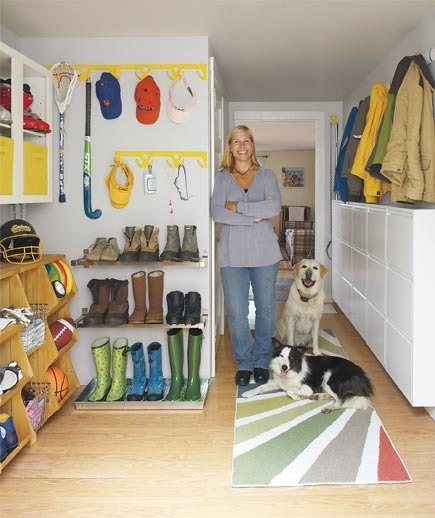 Awesomely organized mudroom.