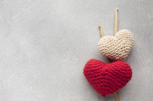 Download Crocheted Heart Shapes With Copy Space Background For Free In 2020 Handmade Logo Crochet Heart Crochet