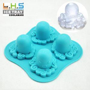 Cetakan Kue / Puding / Cokelat / Es Batu / Jelly / Coklat / Clay Bentuk Gurita / Octopus Bahan Silicon (4 Kotak) [030018]