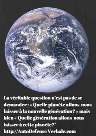 Petite pensée pour notre planète et la génération qui s'en occupe