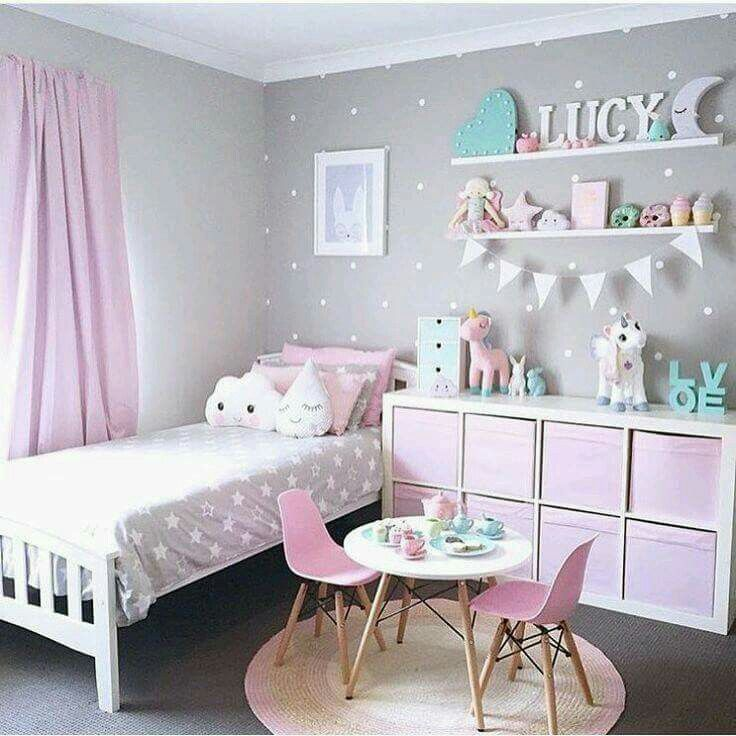 put shelf on wall on the side of bed for pictures and decor and hang spice - Girls Room Paint Ideas Pink