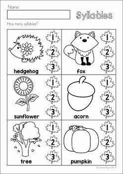 Autumn / Fall Preschool No Prep Worksheets & Activities. Syllables.