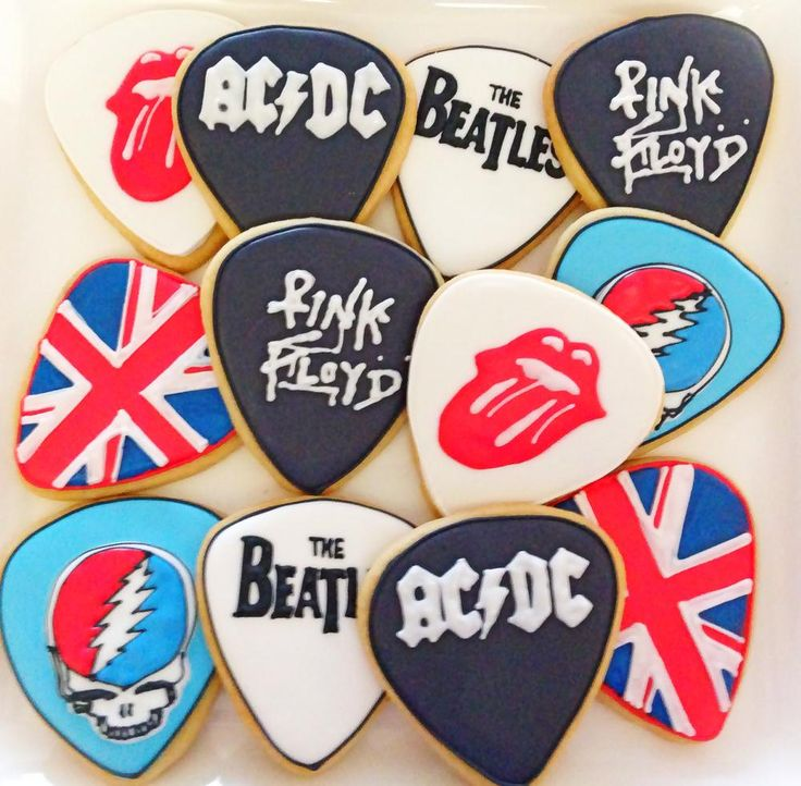 Classic Rock Guitar Pick Cookies     Cookie By Compassionate Cake